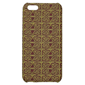 Gold And Red Connected Ovals Celtic Pattern Cover For iPhone 5C