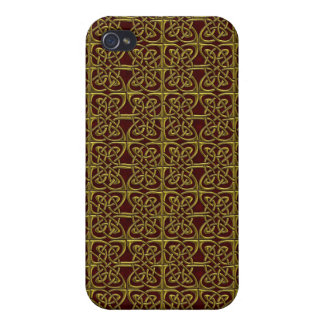 Gold And Red Connected Ovals Celtic Pattern Cover For iPhone 4