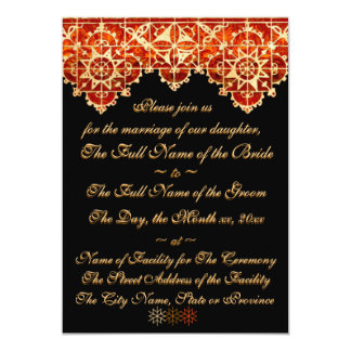 Gold and Red Craftsman Lace on Black 5x7 Paper Invitation Card