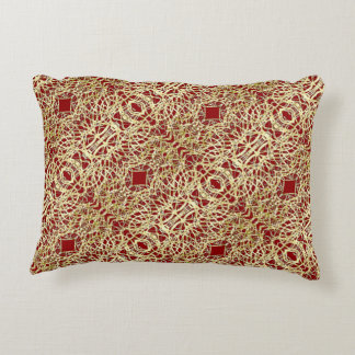 Gold and Red Filigree Circle Design Accent Pillow