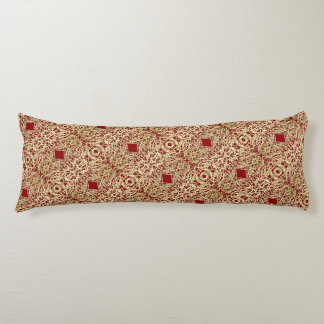 Gold and Red Filigree Circle Design Body Pillow