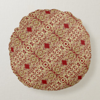 Gold and Red Filigree Circle Design Round Pillow