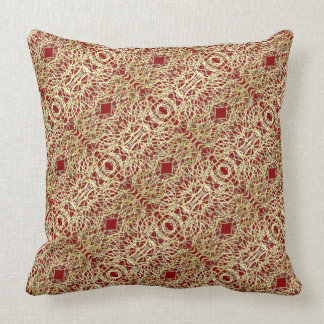 Gold and Red Filigree Circle Design Throw Pillow