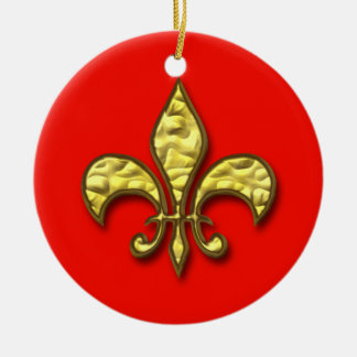 Gold and Red Fleur de Lis Christmas Ornament