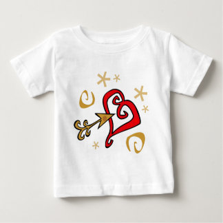 Gold and red Heart Baby T-Shirt