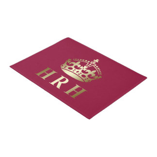 Gold And Red HRH Royal Crown Doormat