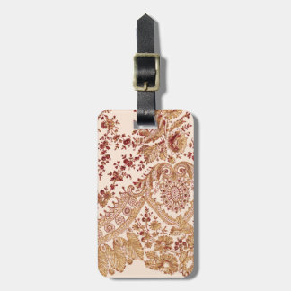 Gold And Red Lace Luggage Tag