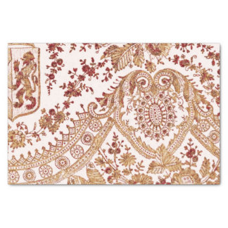 Gold And Red Lace Roses Tissue Paper