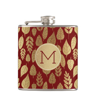 Gold and Red Leaf Pattern & Monogram Hip Flask
