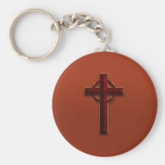 Gold and Red Marble Celtic Cross Basic Round Button Keychain