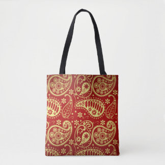 Gold And Red Paisley Pattern Tote Bag