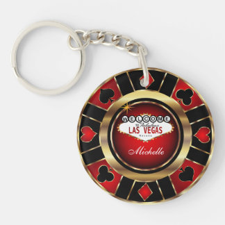 Gold and Red Poker Chip Design - Personalize Keychain