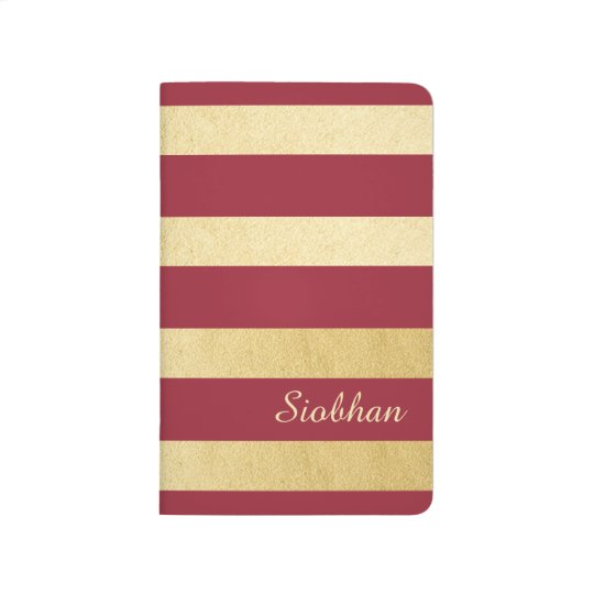 Gold And Red Strip Personalized Journals