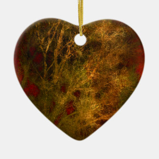 Gold and Red Tree Branches Abstract Ceramic Ornament