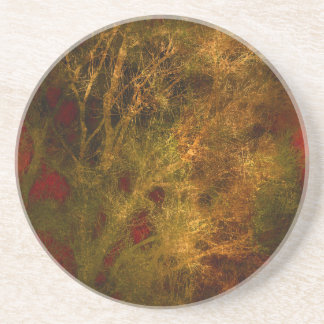Gold and Red Tree Branches Abstract Coaster