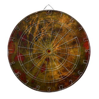 Gold and Red Tree Branches Abstract Dartboard