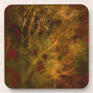 Gold and Red Tree Branches Abstract Drink Coasters
