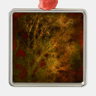 Gold and Red Tree Branches Abstract Metal Ornament