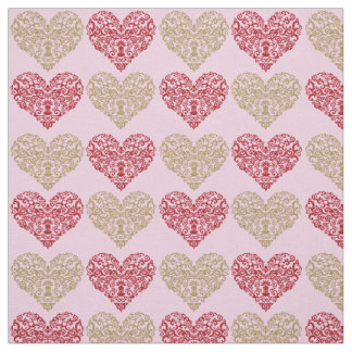 Gold and Red Valentine Hearts on Pink Background Fabric