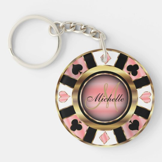 Gold and Rose Poker Chip Design - Monogram Double-Sided Round Acrylic Keychain