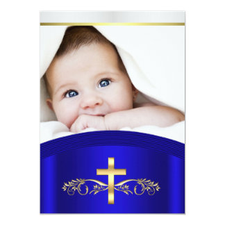 Gold and Royal Blue Photo Christening Baptism Card