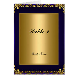 Gold and Royal Blue Table Placement Card Menu