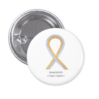 Gold and Silver Awareness Ribbon Custom Button Pin