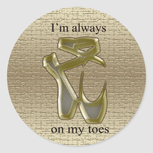 Gold and silver ballet slippers on light gold back classic round sticker