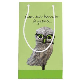 Gold and Silver Burrowing Owl Coastal Painting Small Gift Bag