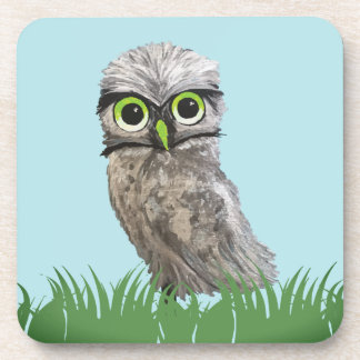 Gold and Silver Burrowing Owl Decor Coaster