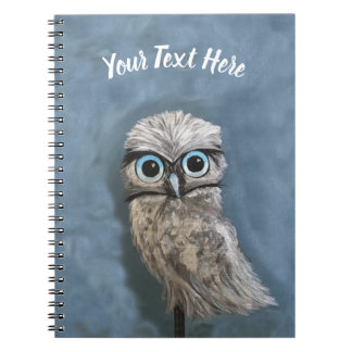Gold and Silver Burrowing Owl Decor Spiral Notebook