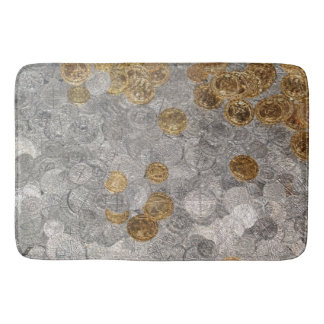 Gold and Silver Coins Bath Mat