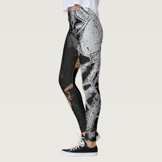 Gold and silver crystals pattern on black fabric leggings