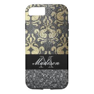 Gold and Silver Elegant Metallic Glitter Monogram iPhone 8/7 Case
