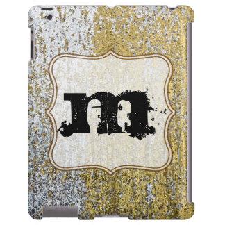 Gold and Silver Grunge Glitter Monogram IPAD Case