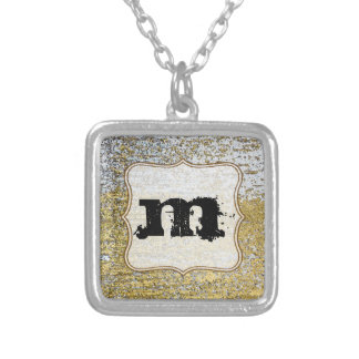 Gold and Silver Grunge Glitter Monogram Necklace