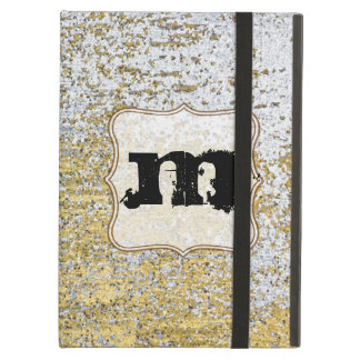 Gold and Silver Grunge Monogram Initial IPAD Case