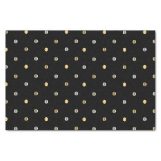 Gold and Silver Polka Dots on Black Tissue Paper