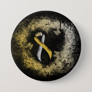 Gold and Silver Ribbon Grunge Heart 3 Inch Round Button