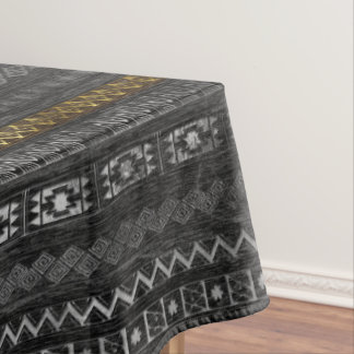 Gold and Silver Tribal Pattern on Black  wood Tablecloth