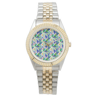 Gold and silver watch with abstract designed face