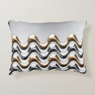 Gold and Silver Waves Pillow