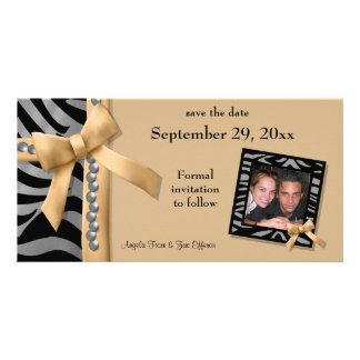 Gold And Silver Zebra Gems Save The Date Card Personalized Photo Card
