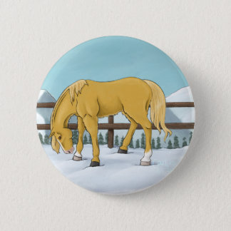 Gold and Snow 2 Inch Round Button