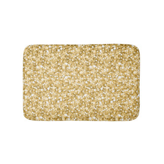 Gold And Sparkling White Glitter Pattern Bath Mat