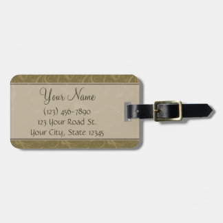 Gold and Tan Floral Wisps & Stripes with Monogram Luggage Tag