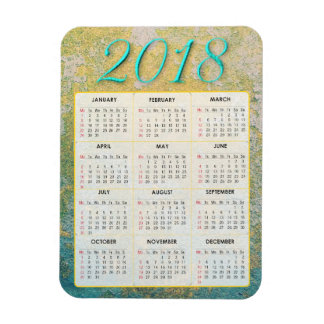 Gold and Teal Abstract 2018 Calendar Magnet