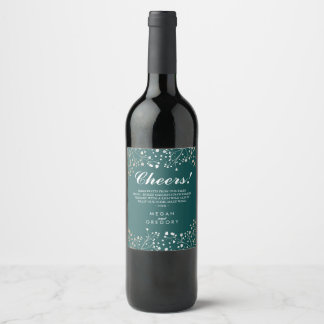 Gold and Teal Baby's Breath Elegant Wine Label