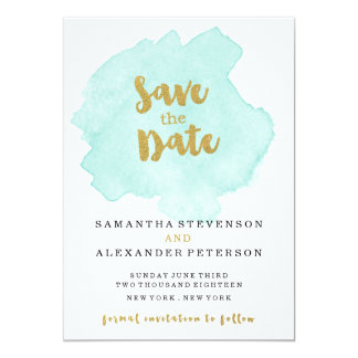 """Gold and Teal Blush Save the Date 5"""" X 7"""" Invitation Card"""