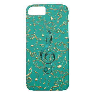 Gold and Teal Music Notes and Clefs iPhone 7 Case